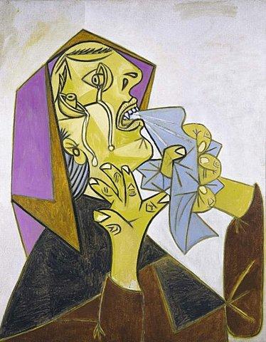 """Poscubismo. Picasso, """"Cabeza de mujer llorando con pañuelo (III)"""". Postscripto de """"Guernica"""" (1937)"""