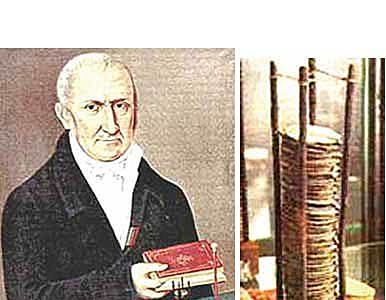 Volta inventa método para generar electricidad.