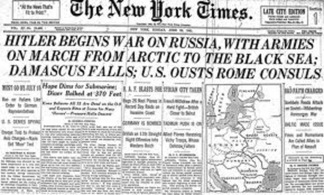 Germany invades the Soviet Union.