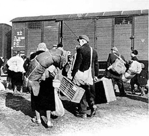 Remnants of Slovakian Jews deported to Auschwitz.