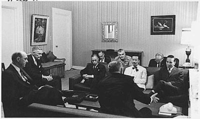 """President Johnson declares he will not """"lose Vietnam"""" during a meeting with Ambassador Henry Cabot Lodge in Washington"""