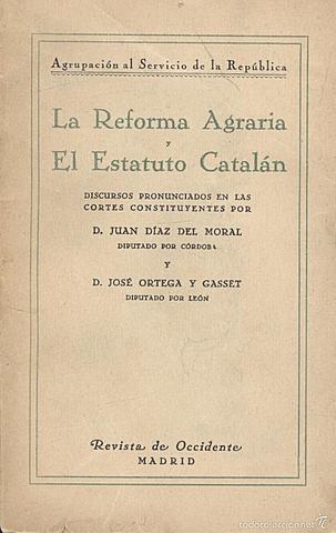 Reforma agraria. Estatuto catalán