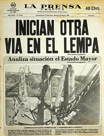 Puente Cuscatlán es derribado por guerrileros usando carga explosiva