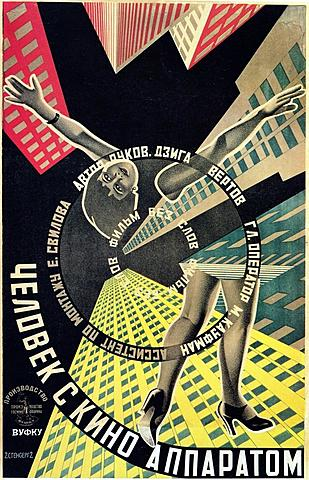 """EL HOMBRE DE LA CÁMARA """"película muda documental soviética""""  (Dziga Vértov)."""