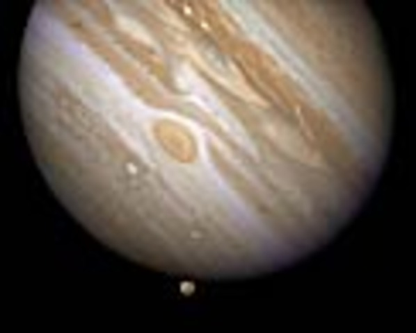 Pioneer 10 from NASA visits  the Gas Giant closest to the Sun (Picture from Hubble Telescope)