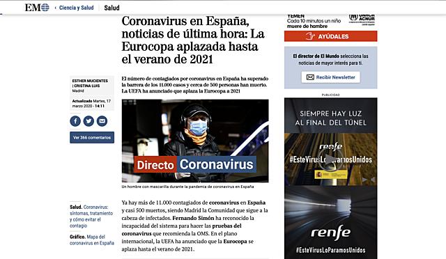 17 de marzo:Coronavirus en España, noticias de última hora: La Eurocopa aplazada hasta el verano de 2021