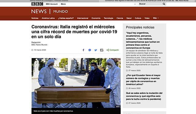 19 de marzo:Italia registró el miércoles una cifra récord de muertes por covid-19 en un solo día