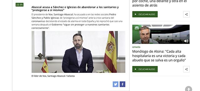 """20 de marzo: Abascal acusa a Sánchez e Iglesias de abandonar a los sanitarios y """"protegerse a sí mismos"""""""