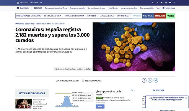 23 de marzo: España registra 2.182 muertos y supera los 3.000 curados