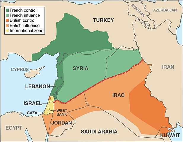 Sykes-Picot Agreement Divides the Middle East