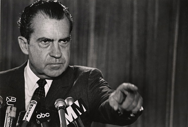 President Nixon stuns Americans by announcing U.S. and South Vietnamese incursion into Cambodia