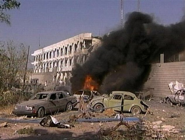A car-bomb attack on United Nations headquarters