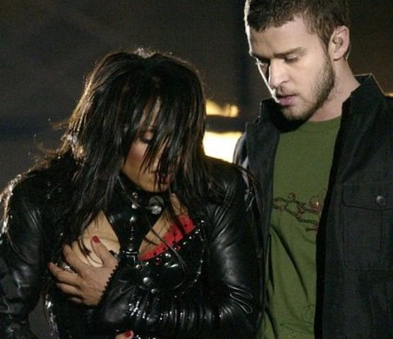 Janet Jackson's breast is exposed