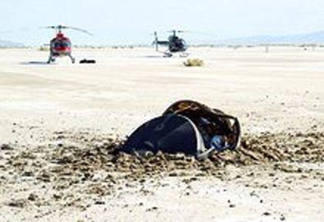 The NASA unmanned spacecraft Genesis crash-lands