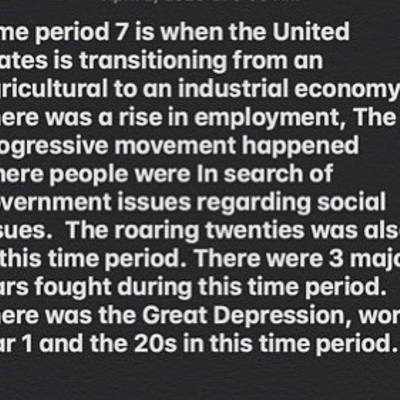 Time period 7 timeline by: Chloe Rivera