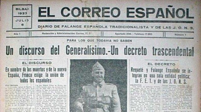 (Abril 1937) Franco promulga el día 19 el llamado Decreto de Unificación, por medio del cual crea una única formación política legal bajo su mando: FET y de las JONS.