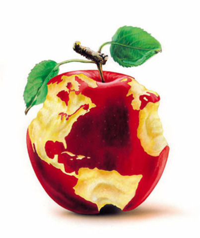 The world became an apple