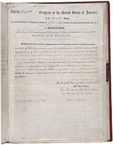 Thirteenth Amendment Ends Slavery
