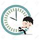 49061127 businessman running late as hurry up for work and clock rush hour on white background