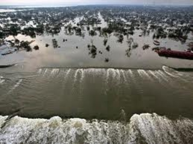 Hurricane Katrina hits along the U.S Gulf Coast