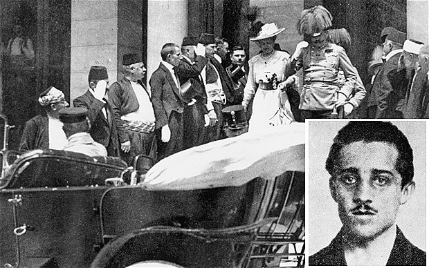 The assassination of Archduke Franz Ferdinand and his wife