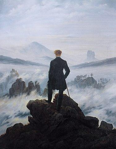 El caminant sobre un mar de núvols Caspar Friedrich pinta