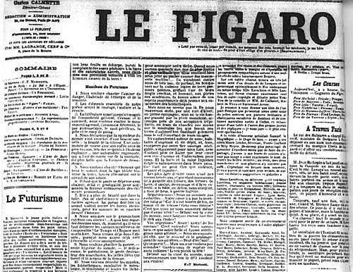 Filippo Tomasso Marinetti publica el Manifest futurista