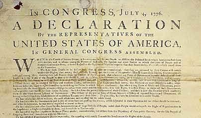 Declaració d'Independència dels EEUU.