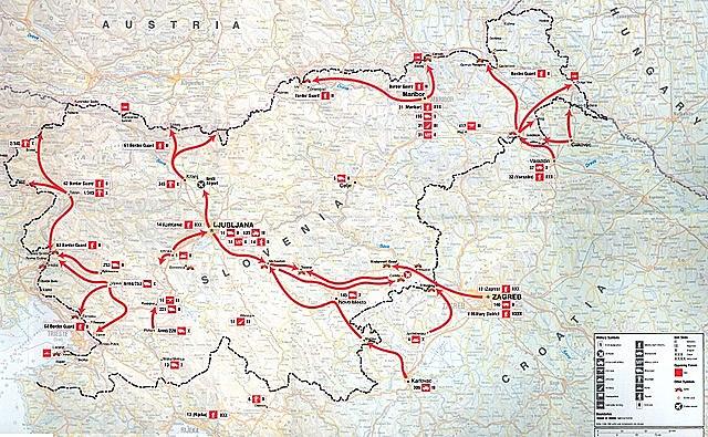 Начало Десятидневной войны в Словении
