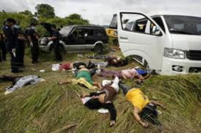 In the Philippines at least 58 are abducted and killed in an election-related massacre