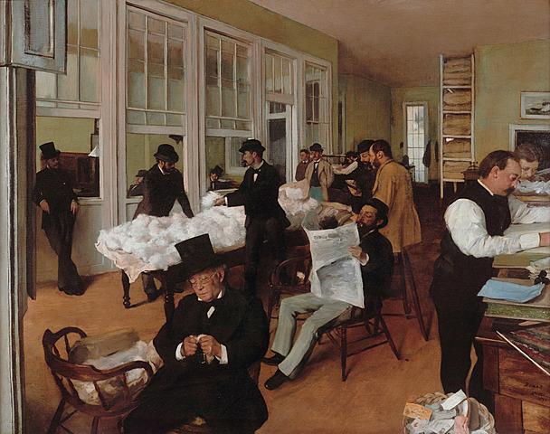 Retratos en una oficina de algodón de Nueva Orleans, Degas
