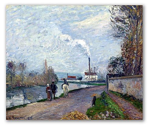 El Río Oise cerca de Pontoise con Cielo Gris, Pissarro