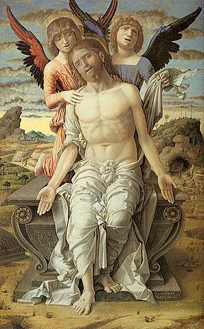Cristo sostenido por dos ángeles
