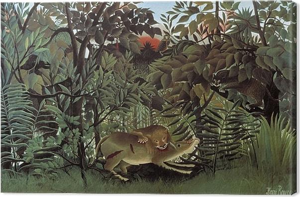 El león arrojándose sobre el antílope, Rosseau
