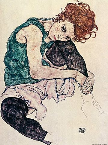 Mujer sentada con pierna levantada, Schiele