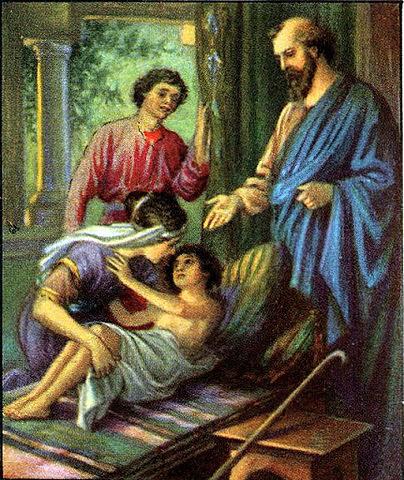 Elisha raises the boy from the dead.