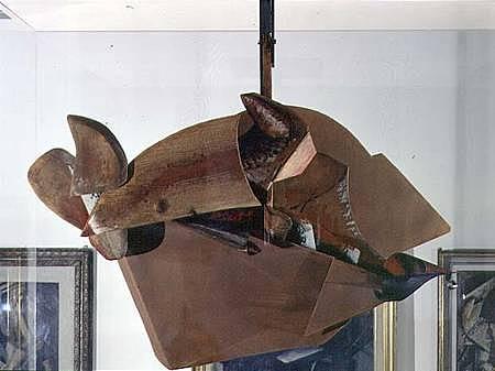 Dinamismo de un caballo en movimiento y casas, Boccioni