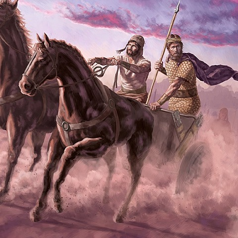 Jehoshaphat fights with Ahab against Syria