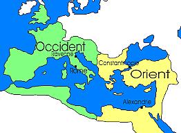Date importante : La séparation en deux de l'Empire Romain