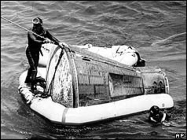 Gemini V returns to Earth