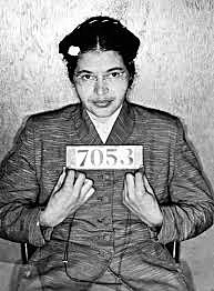Rosa Parks refuses to give up her seat on the bus.