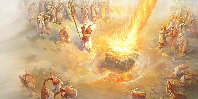 Elijah and the 850 false prophets on Mt. Carmel