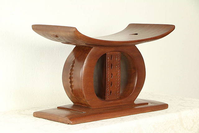 African Vintage Carved Mahogany Stool (Restored)
