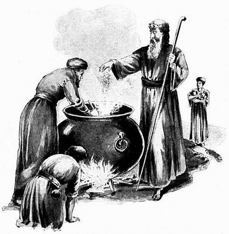 Elisha pufies a pot of stew.