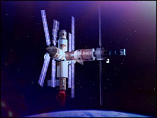 Soviets launch space station Mir