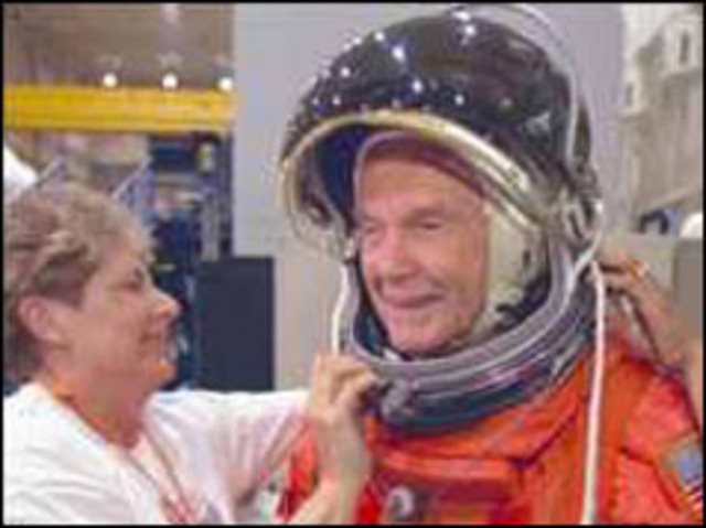 Oldest astronaut back on Earth