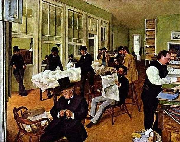 'Oficina de algodón en Nueva Orleans' de Degas
