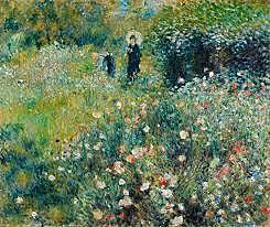 'Mujer con sombrilla en un jardín' de Renoir