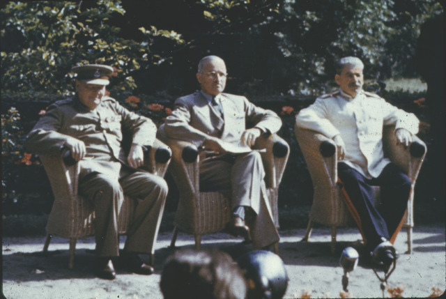 The three leaders meet at Potsdam to discuss what to do with the new Germany