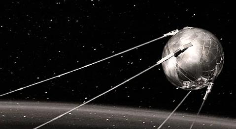 """Russians Launch Sputnik; """"Space Race"""" Begins"""